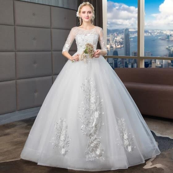 75029a6940bf9c7 Принцесса Роскошные Свадебные Платья 2019 Новое Классическое Половина  Рукава Высокого класса Бальное Платье С Плеча