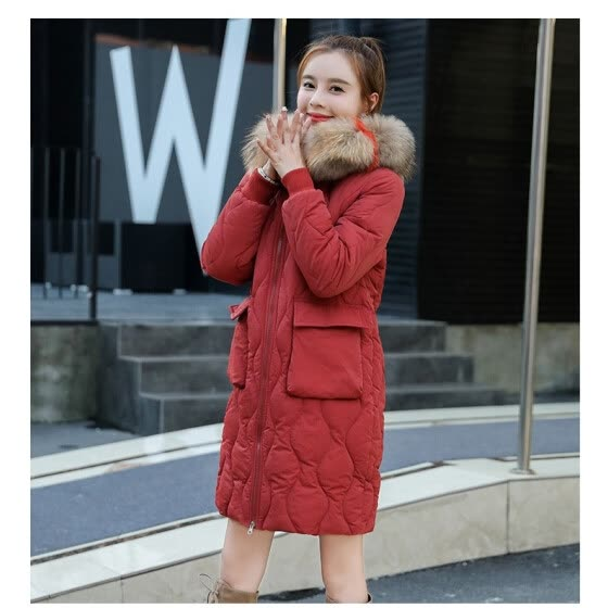 b2caf0cf244c Cotton women's long section 2018 winter new down cotton pad Korean version  of the thick warm
