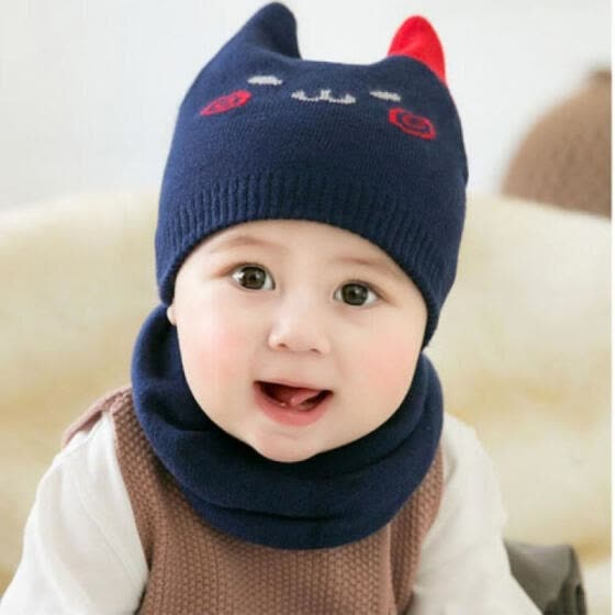 bd4b6a1c0b7 UK Baby Boy Girl Winter Warm Knitted Cat Hat Newborn Infant Kids Beanie Cap