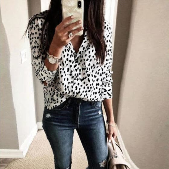5fe1571d19cc Women V Neck Ladies Leopard Print Long Sleeve Loose T Shirt Tops Blouse
