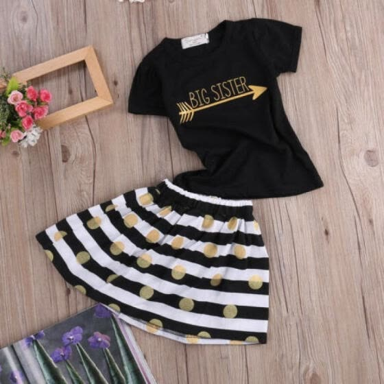 Casual Toddler Kids Girls Summer Tops T-Shirt Striped Skirt Dress Outfits Set