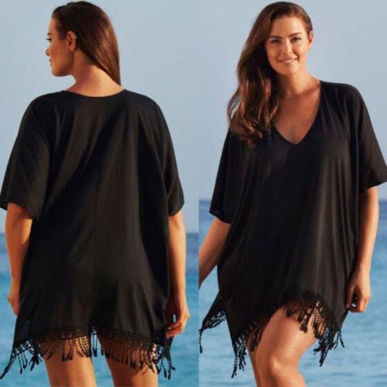 eb450d71d0 Sexy Women Lady Lace Kaftan Bikini Swimwear Cover Up Beach Mini Dress Plus  Size