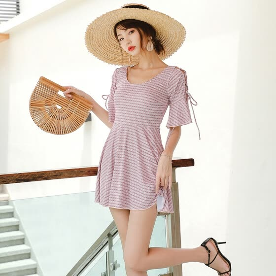 a37b58b238 Beidisi swimwear female conservative new skirt-style one-piece slimming  belly sexy strap Korean