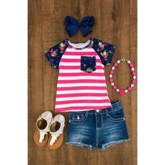 1f0d188787 Canis Toddler Kid Baby Girl Striped Tops T-shirt Denim Pants Outfit Clothes  1-