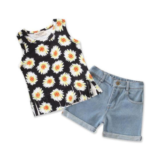 UK 2Pcs Toddler Baby Girl Clothes Sleeveless Top Denim Shorts Sunflower Outfit M
