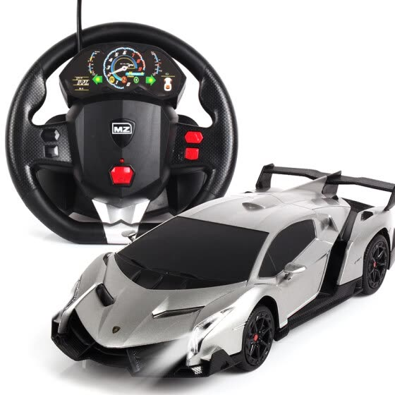Mizzy model (MZ) remote control Lamborghini poison sports car steering wheel gravity sensor remote control charging gift box children boy toy car model 1:24 gray
