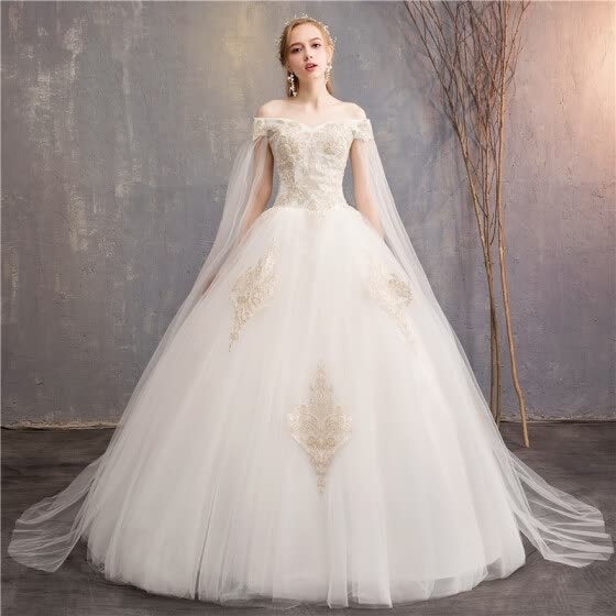 205c436e1c2 Champagne Lace Embroidery Wedding Dress Sexy V-neck Off The Shoulder Wedding  Gown With Cape