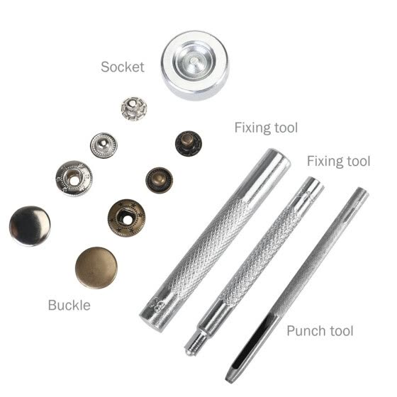 480Sets 4 Colors Clothes 4 in 1 Fastener Snap Set Metal Press Stud Cloth Button Setting Tool Kit