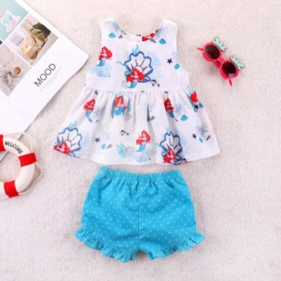 77ce84cc5d5d Mermaid Kids Baby Girls Sleeveless Tops T-shirt Shorts Pants Outfits Clothes  USA