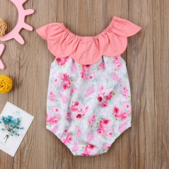 UK Sale Newborn Baby Girls Floral Plaid Jumpsuit Romper Outfits Clothes Summer