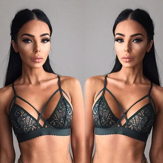 1d350ed546 Women Floral Sheer Lace Triangle Bralette Unpadded Bra Crop Top Strappy  Lingerie