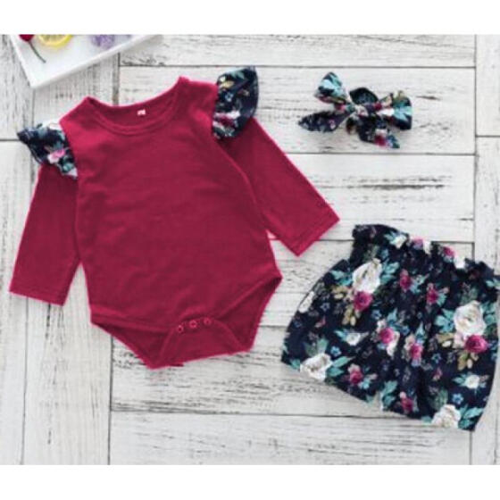 Newborn Baby Girl Infant Long Sleeve Clothes Autumn Romper Playsuit Pants Outfit