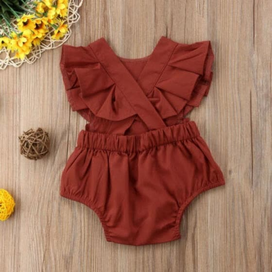 f87bbadd30cfb Newborn Infant Baby Girl 0-12M Romper Jumpsuit Beach Wear Flying Sleeves