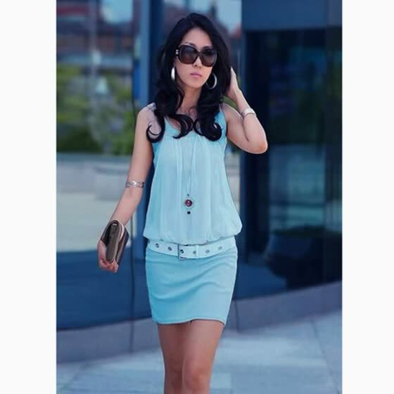 New Casual Summer Women's Dress Chiffon Round Neck Sleeveless Tunic Sundress Blue
