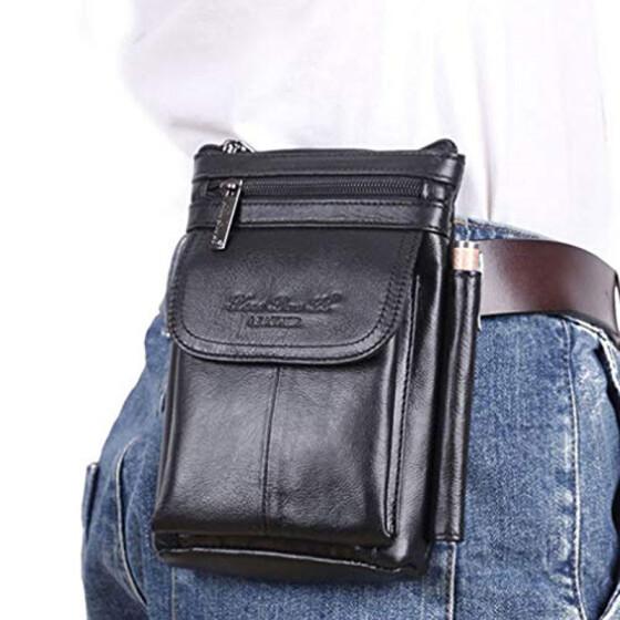 Mens Genuine Leather Sling Messenger Shoulder Satchel Waist Fanny Hook Bag Pack