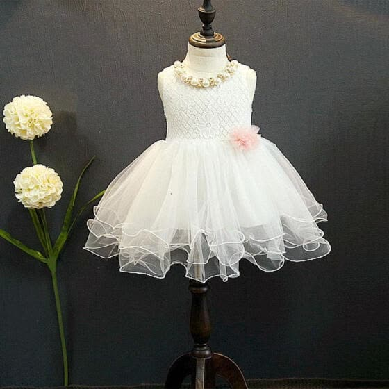 Princess Kids Girls Dress Lace Flower Party Gown Formal Dresses Tulle Tutu Dress