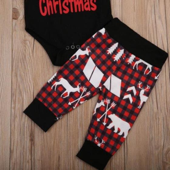a715a435e 3Pcs Newborn Baby Boy Girl Christmas Tops Romper Pants Hat Outfits Set  Clothes