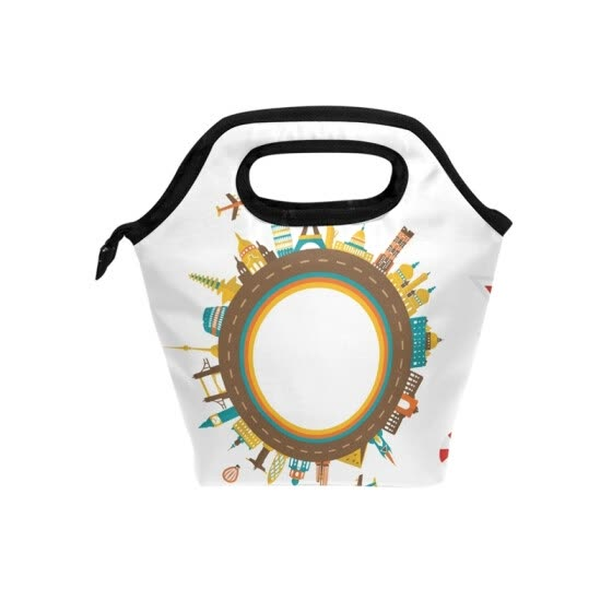 Shop Lunch Bag Tote Bag Plane Building Hot Air Balloon Travel Picnic
