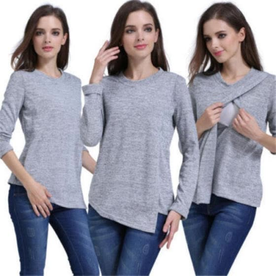 f298e16e5dc71 AU Long Sleeve Breast Feeding Nursing Top Maternity Clothes Pregnant Women  Shirt