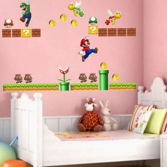 Cute Super Mario Wall Decals Removable Vinyl Art Mural Home Baby Kids Room Decor