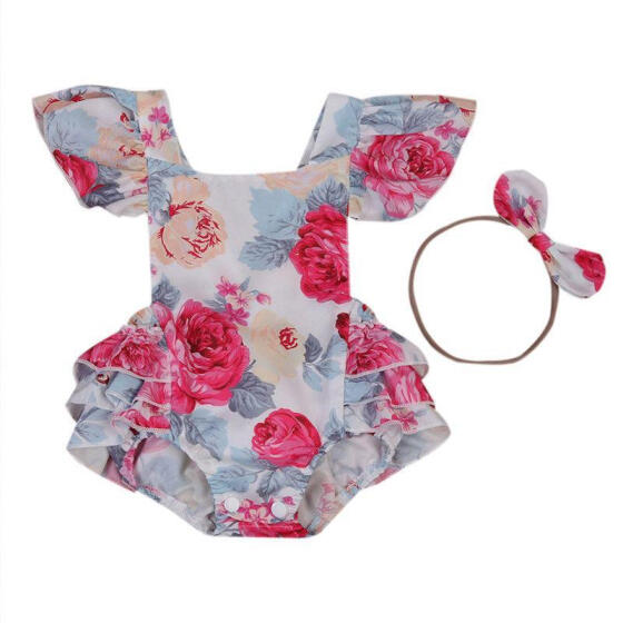 Toddler Baby Girls Romper Sleeveless Backless Floral Jumpsuit Sunsuit Clothes