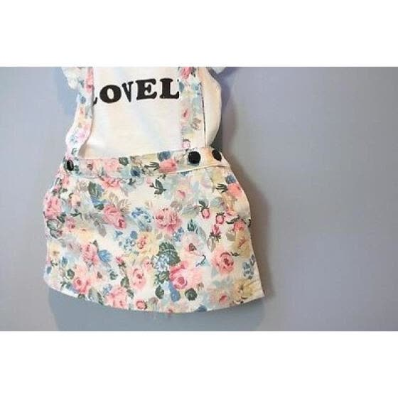Kids Baby Girl Dress Cotton Tops T-shirt+Suspender Skirt Overalls Outfits Set