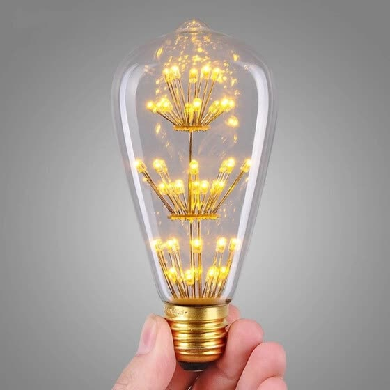 SUPli 1Pack Vintage Edison Bulbs AC 220V - 240V 3W Bright Starry Style Squirrel Cage Light