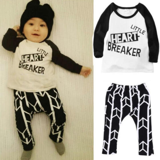 2pcs Toddler Kids Baby Boys Girls T-shirt Tops Long Pants Clothes Sets Outfits