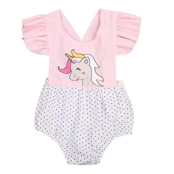 Newborn Infant Baby Girl Unicorn Romper Floral Bodysuit Summer Clothes UK