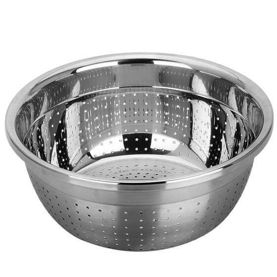 American kitchen (maxcook) rice sieve dish basin drain basin 26CM thick stainless steel thick stainless steel MCWA-171 drop