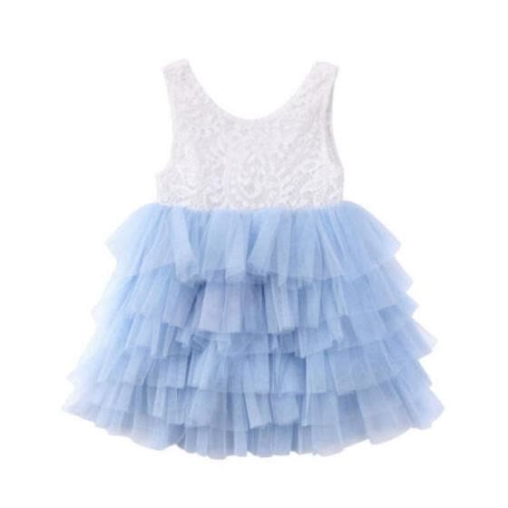 Toddler Kids Baby Girls Lace Dress Party Prom Bridesmaid Party Pageant Dresses