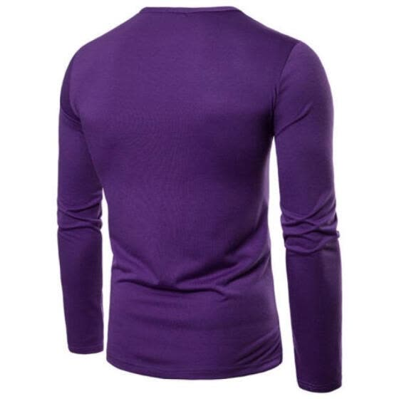 UK Men's Cotton Slim Fit Muscle Top Long Sleeve Shirts Casual Basic Tee Shirt