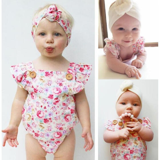 Kids Toddler Baby Girls Floral Romper Bodysuit Jumpsuit Outfit Sunsuit Clothes