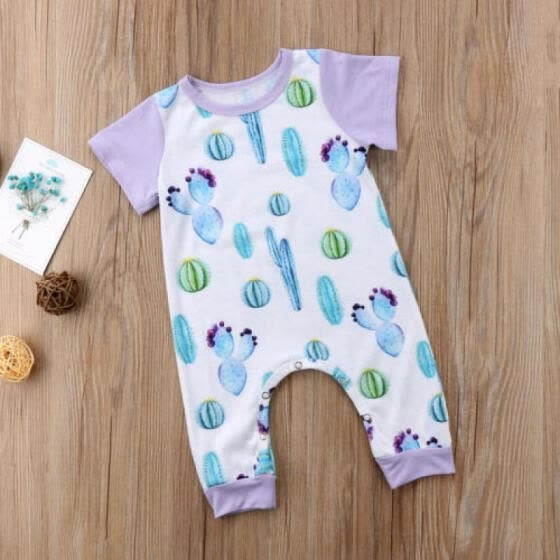 c9b266580 Newborn Baby Girl Cactus Prickly Pear Romper Jumpsuit Outfits Clothes  One-Pieces