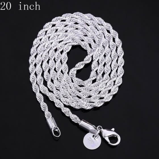 Classic 925 Sterling Silver Charms Twisted Hemp Rope Metal Chain Necklaces with Lobster Clasps Link Chains Italy Chains size 16-30