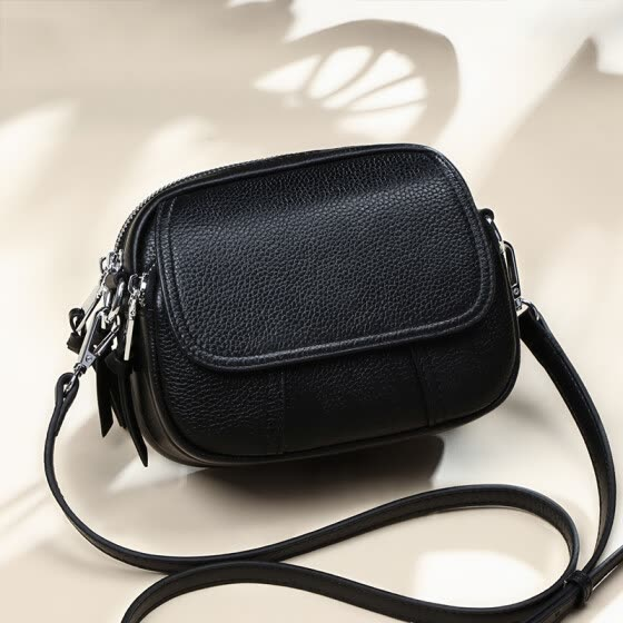 Viney leather handbags fashion small bag Korean version of the wild Messenger bag shoulder lady bag (black)