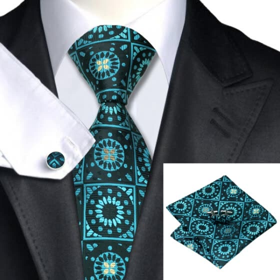 N-0581 Vogue Men Silk Tie Set Green Polka Dots Necktie Handkerchief Cufflinks Set Ties For Men Formal Wedding Business wholesale