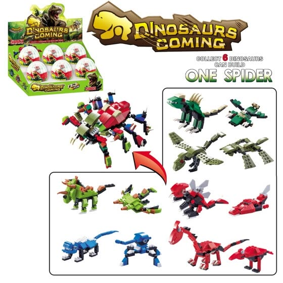 All in one Big Spider Mini Egg Capsule Jurassic Park Dinosaur DIY Building Blocks Compatible Wiht Lego Education Brick Toy for kid