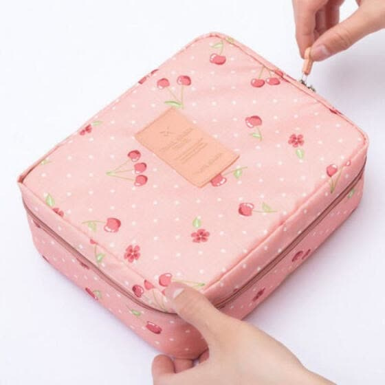 Portable Women Travel Makeup Toiletry Case Pouch Flower Organizer Cosmetic Bag