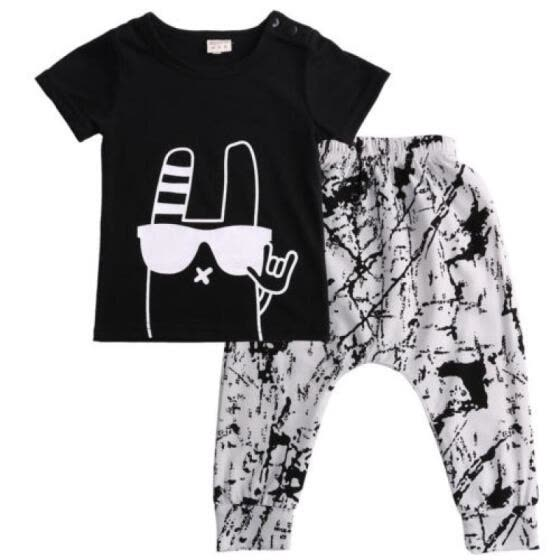 c99045653 Shop 2PCS Toddler Boys Baby Monster Outfits T-shirt+Long Pants ...