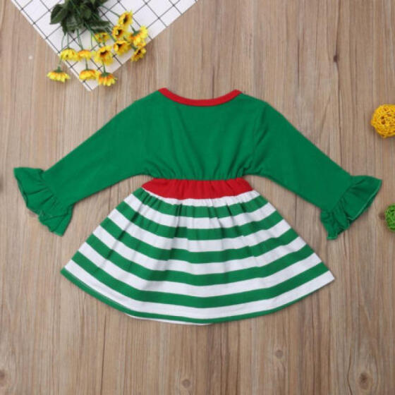 Toddler Kids Baby Girls Deer Striped Princess Dress Christmas Outfits Clothes