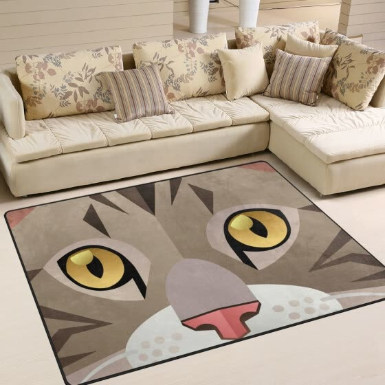 Shop Funny Cute Cat Face Printed Large Area Rugs Lightweight Non Slip Floor Carpet Use For Living Room Bedroom Home 5 3 X 4 Online From Best Area Rugs Doormats On Jd Com Global Site