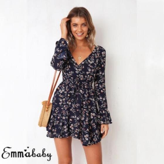 b9fe6f8776d5 Emmababy Summer Womens Floral Boho Short Dress Evening Party V Neck Maxi  Dresses