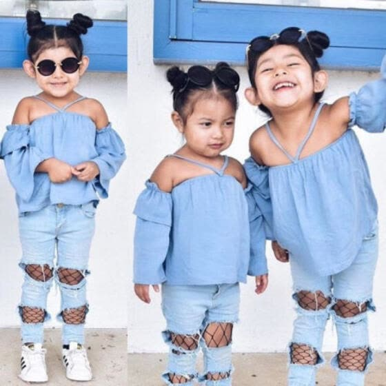 d0dab93fa8e UK Stock Newborn Kids Baby Girls Off Shoulder Tops Denim Pants Hole Jeans  Outfit