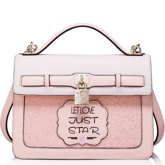 When Europe is satisfied JUST STAR handbags new fashion wild female casual shoulder bag hand bag Messenger small square package JS021L love powder