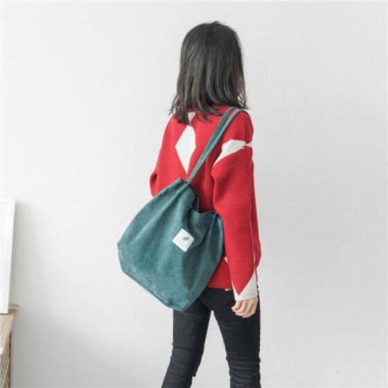 US Women Fashion School Bags Corduroy magnetic button Shoulder Canvas Tote Bags