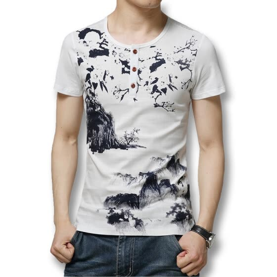 T shirts Men T Shirts 2016 Summer Men T Shirts Short Sleeves Linen Cotton Men Fashion Printed T Shirts Casual Slim Fits Hot Sale