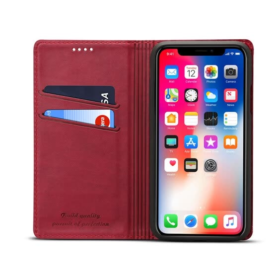 New iPhoneXS Max Mobile Shell Apple 8 Leather Case Clamshell Card Wallet Red