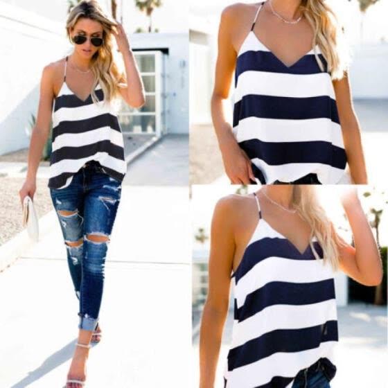800d269e38967d Women V Neck Casual Vest Top Sleeveless Summer Beach Tank Tops T-Shirt  Blouse