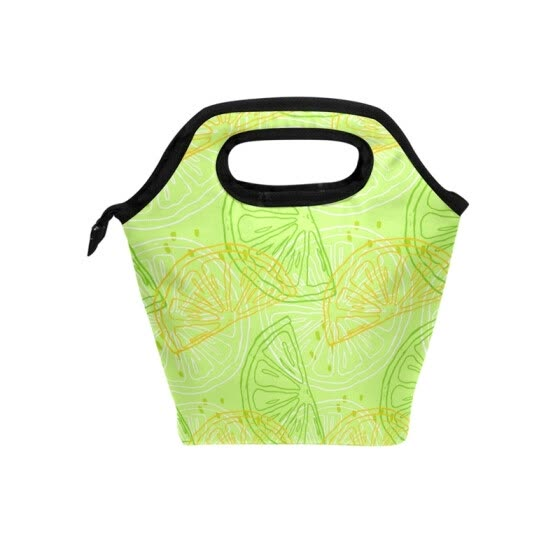Lunch Tote Bag  Orange Juice Travel Picnic Insulated  Lunch Handbags Portable Zipper Lunch Bag Box